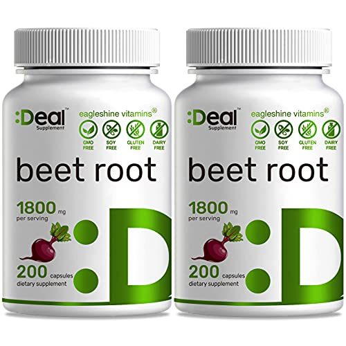 2 Pack Beet Root Capsules 1800mg, 200 Counts, Beet Root Powder Capsules, Supports Blood Pressure, Healthy Performance and Immune System - Ultra Nitric Oxide Booster