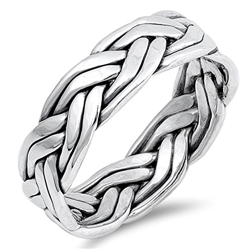 Celtic Weave Rope Knot Wedding Ring New .925 Sterling Silver Band Size 9