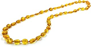 Genuine Baltic Amber Necklace Made of Natural Polished Amber Pearls (48 cm) (Brown)