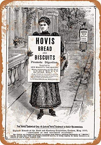 XHYDPG 1895 Hovis Bread and Biscuits Metal Tin Sign Home Garage Bar Supplies Lightweight and Interesting Outdoor Decoration 12 X 8 Inch