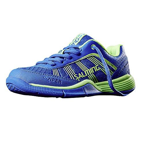 Salming Viper 3 Kids Indoor Handballschuhe Hallenschuhe Kinderschuhe blau/grün, Schuhgröße:EUR 34.5