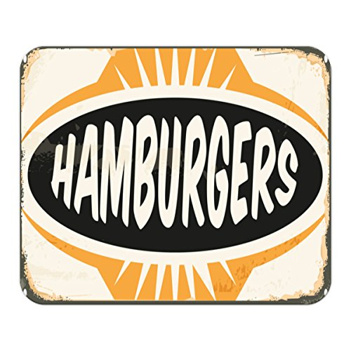 Gaming Mauspad mit Fotodruck Mousepad 220 x 180 mm Rutschfest Schwarz Fransenfreier Rand Präzision Nostalgie Fun Hamburger bedruckt