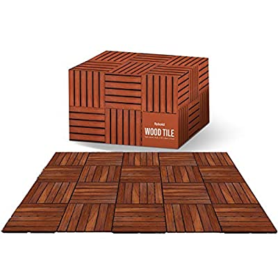 """Wood Interlocking Floor Tiles Solid Teak Wood Flooring Tile with UV Protection Oiled Finish Snap Lock for Outdoor Indoor Decor Patio Deck Shower Balcony Dance Floors Pack of 10 Pieces 12"""" x 12"""""""