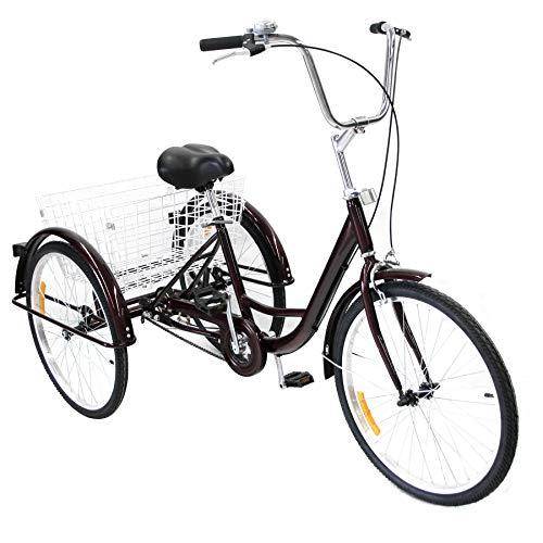 HIRAM 24 Zoll Dreirad Für Erwachsene 3 Rad Fahrrad Dreirad Pedal mit Warenkorb Tricycle Mit 3 Rädern (Rot)