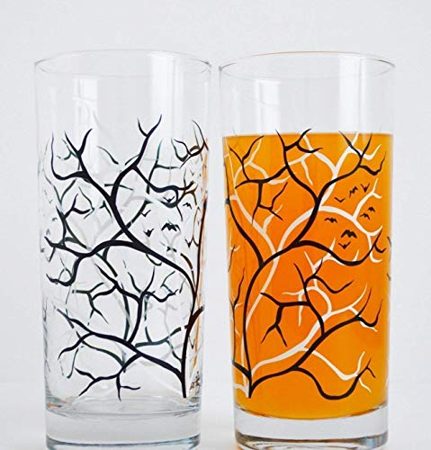 Spooky Black and White Trees with Bats - Set of 2 Everyday Drinking Glasses, Halloween Glasses