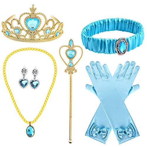 Latocos - 6 Piezas de Accesorios de Disfraz de jazmín con Diadema de jazmín y Corona, Collar y Pendientes, Guantes, para Halloween y niñas, Princesa para niños