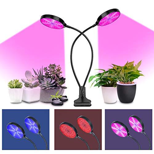 fuchsiaan Plant Growing Lamp, USB 5 Gears Waterproof Adjustable Anti-corrosion 360° Irradition LED Light, for Garden Greenhouse Succulents Bonsai Flower House Plants 15/30/45W 3 Head Light