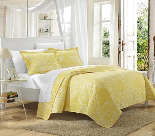Chic Home 3 Piece Napoli Reversible Printed Quilt Set, King, Yellow