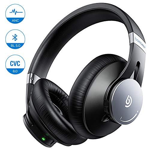 BOMAKER Cuffie Wireless, Bluetooth 5.0 ANC Headphones Over Ear Cancellazione Attiva del Rumore con CVC 8.0 Microfono, Earbuffs Proteiche con Borsa, Compatibile con Android/iOS/Tablet, Dolphin Ⅰ, Nero