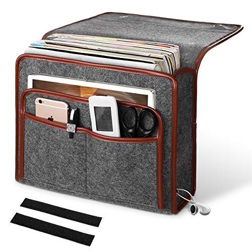 ANBET Bolsillo Cama de Fieltro, Organizador de Almacenamiento de Bolsas Colgantes Alta Capacidad para rieles de Cama, sofá, literas - 13.2 × 9.8 × 4.1in