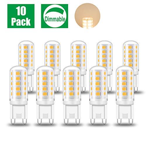 Eofiti 10er G9 LED Dimmbar Warmweiß LED G9 5W Ersetzt 40W Halogen Lampe 2700K Kein Flackern Mit IC Kontroller 230V Birne Leuchtmittel Stiftsockel 420lm 360° Abstrahlwinkel Hell