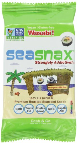 Seasnax Grab and Go Seaweed, Wasabi, 0.18 Ounce (Pack of 24)