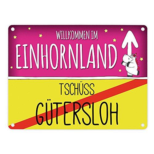 trendaffe - Willkommen im Einhornland - Tschüss Gütersloh Einhorn Metallschild