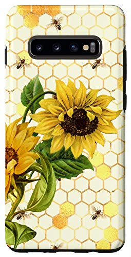 Galaxy S10+ Cute Yellow Floral Sunflower Honey Bee Case