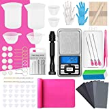 190Pcs Resin Supplies Tools Kit - Epoxy Resin Silicone Mixing Tools with Resin Scale, Resin Drill, Silicone Measuring Mixing Cups, Silicone Mat, Sandpaper, Keychain Rings for Resin Casting Kit, Pink