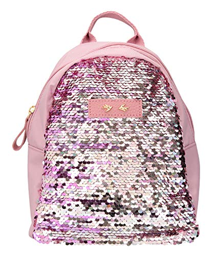 Depesche 10043 – Backpack with Sequins Trend Love, Mauve