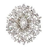 Rrunzfon Creativo de Flores Broche Broche de Cristal Brillante Pernos para Hombres y Mujeres Ropa de Vestir Decorar Clip Precioso pañuelo Manera de los Pernos Broche de Plata