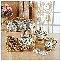 アフタヌーンティーセラミックティーセットギフトティーセットは、アフタヌーンティーパーティーに適したコーヒーと濃いお茶を飲むことができ、家族や友人へのギフトファッションとエレガントなセラミック食器セット(Size:4)
