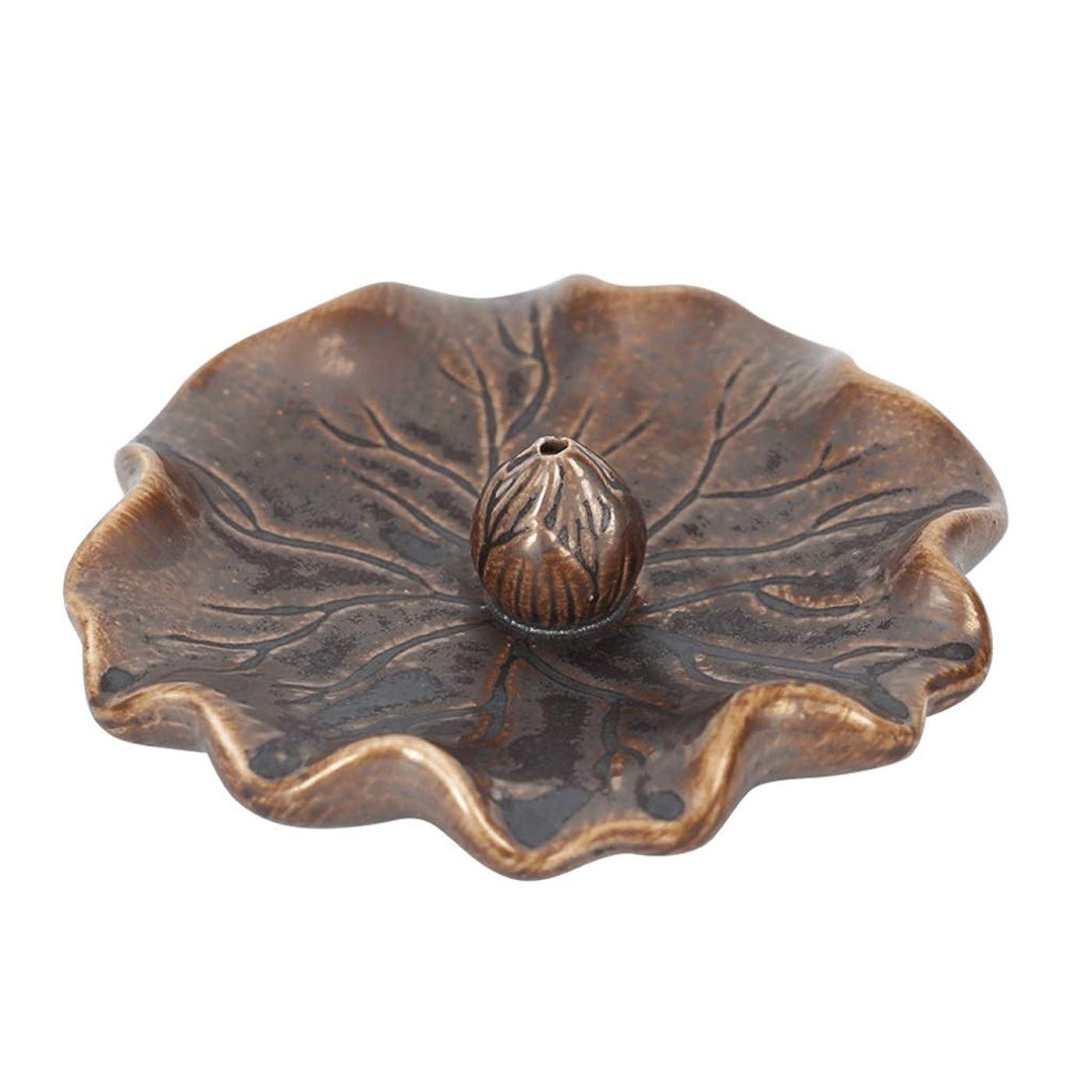 ショートカット違う硬化する蓮の葉セラミック香炉ライン香バーナーホーム寒天ベース屋内香ホルダーホルダーまっすぐな香香スティック (Color : Brass, サイズ : 4.52*1.18inchs)