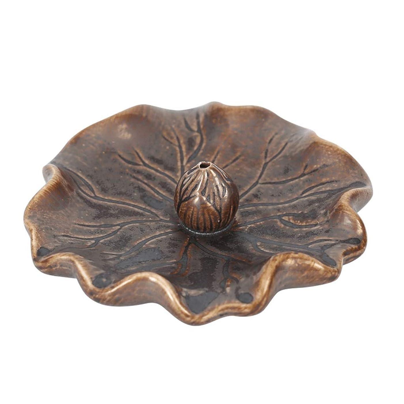 穴信条額ライン香バーナー蓮の葉アンティーク香ホルダービャクダン炉ホーム屋内香りの良い皿セラミック香ホルダー (Color : Brass, サイズ : 4.52*1.18inchs)