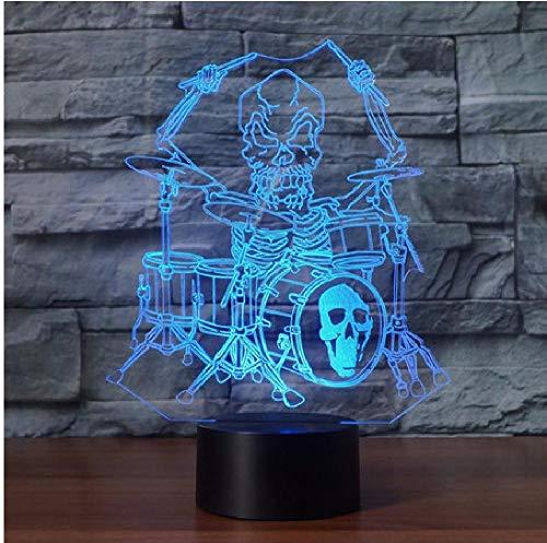 Skelett Spieltrommel Set 3D Illusion Nachtlicht Rock Musikinstrumente Led Nachtlampe Schreibtisch Tischlampe Halloween Atmosphäre Lampe