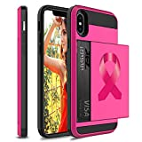 Wallet Credit Card ID Holder Shockproof Protective Hard Case Cover for Apple iPhone Breast Cancer Color Awareness Ribbon (Hot-Pink, for Apple iPhone XR)