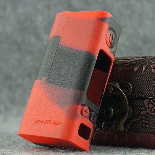 Silicone Case for eVic VTC MINI Sleeve Joyetech 60W Temp Control Box Mod Skin (red/black)