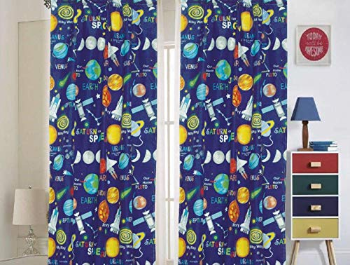 """Bedding Haus Kids Curtain Set (2 Panels), Multi-Color Universe Outer Space Planets Design, 84"""" Length, Fun and Bright Kids Room Window Décor, Curtain Space"""