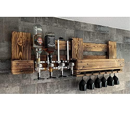 Wandbar mit Getränkespender Personalisierbar Rustikal inkl. 4 Dosierer Flaschenhalter Weinregal Cocktail´s, Gin Hausbar Butler, Weinregal aus Palette