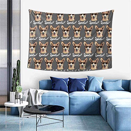 NI Tapices Funny Smile Corgi Dog Cool Gafas de Sol GrayTapestry Dormitorio Sala de Estar Dormitorio Decoración para el hogar Colgante de Pared 60x40in