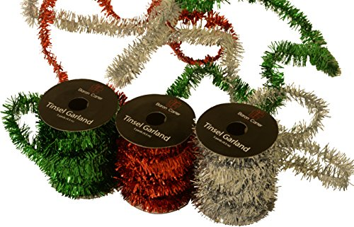 Christmas Metallic Tinsel Garland, By Baron Carter 5 yards x 3/4' thick each spool, Pack of 3 spools, Red Green and Silver for decorating gifts and trees