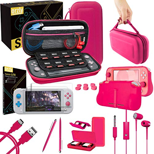 Orzly Switch Lite Accessories Bundle - Case & Screen Protector for Nintendo Switch Lite Console, USB Cable, Games Holder, Comfort Grip Case, Headphones, Thumb-Grip Pack & more (Orzly Gift Pack - Pink)