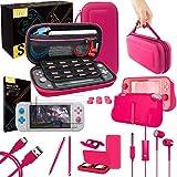 orzly kit accessori per nintendo switch lite - include: custodia e pellicola protettiva switch lite, grip case cover, cavo usb, cuffie, e altri accessori switch lite (rosa)