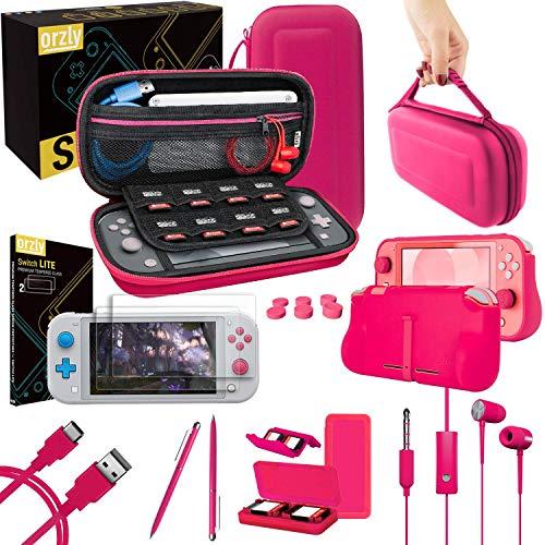 Orzly Paquete de Accesorios para Nintendo Switch Lite – Incluye: Protectores de Pantalla & Funda para Switch Lite Consola, Funda Comfort Grip, Cable USB, Auriculares y más. (Rosa)