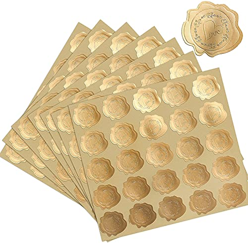 500 Pcs Wedding Stickers 1.5 Inches, Love Heart Gold Stickers, Envelope Stickers with Self-Adhesive, Heart Stickers for Wedding Invitation (Gold)
