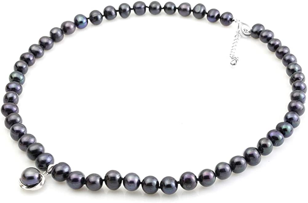 HENGSHENG In a popularity 100% Real Freshwater Pearl Necklace Bla Natural Strand Very popular
