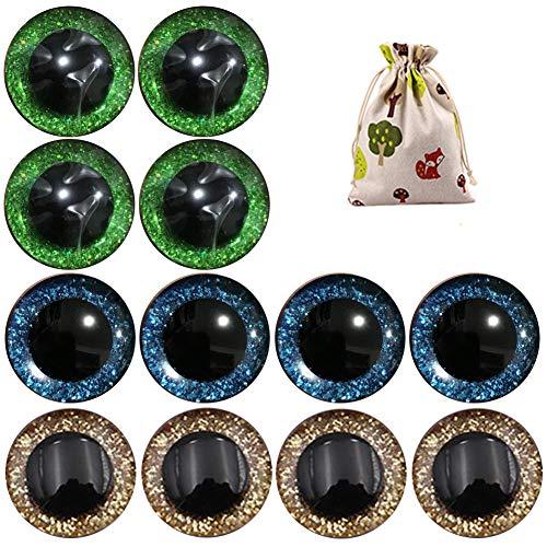 KOOSUFA Sicherheitsaugen Glitzer Bunt Augen Teddy Puppenaugen Kunststoffaugen Puppe Augen Teddyaugen Mit Unterlegscheiben 9mm 12mm 14mm 16mm 18mm 20mm 25mm (Gold+grün+blau, (12 Augen/ 6 Paar) 25 mm)