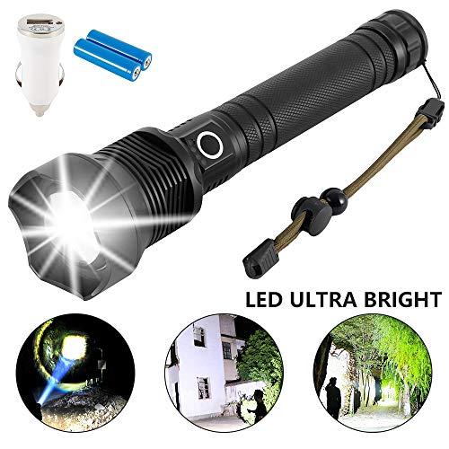 1000000 Lumen xhp90 xhp70 LED Ultra Bright 26650 Leistungsstarke USB-Taschenlampe, Wasserdicht Zoombar für Outdoor, Wandern, Camping, schwarz (xhp90)