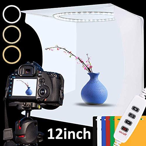 Fotostudio-Lichtkasten-Set, 30 cm x 30 cm, verstellbare Lichtbox mit 80 SMD-LED-Perlen, tragbares Foto-Zelt mit weißem Licht, warmem Licht und 6 Farben Hintergrund