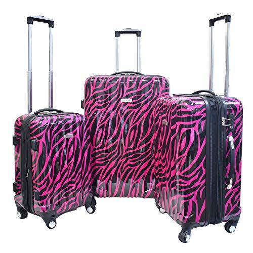 Karriage-Mate Hardside Expandable Luggage with Spinner Wheels, TSA Lock (Zebra)