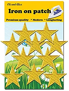 Iron On Patches - Yellow Star Patch 10 pcs Iron On Patch Embroidered Applique A-93
