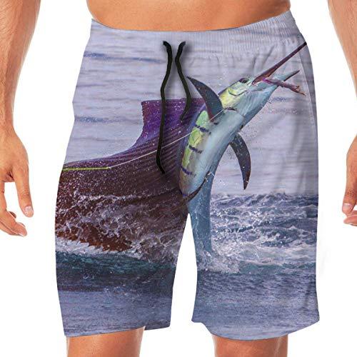 tyui7 Amazing Sailfish Shorts de Encaje elásticos de Secado rápido Shorts de Playa Pantalones Bañador Bañador con Bolsillos