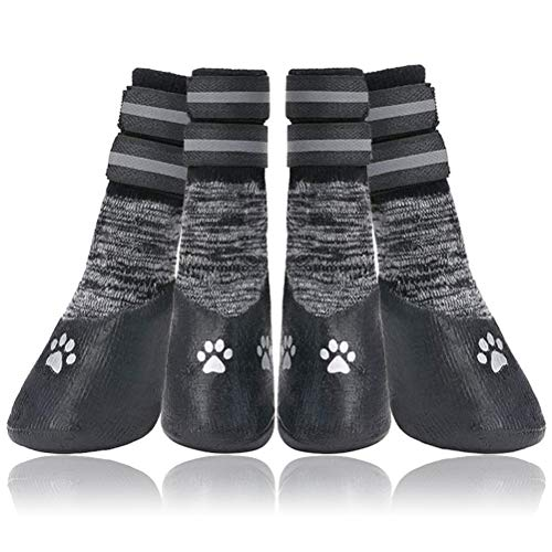 PUPTECK Anti Slip Boots for Dogs - Dog Socks for Medium and Large Dogs with Reflective Strap Traction Control for Hardwood Floors, Indoor Paw Protector, Waterproof Dog Shoes