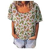 AMhomely Tops de verano para mujer, camiseta de manga corta con cuello en O y estampado casual, suelta, talla grande, elegante