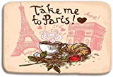 xinhengchang3506 980 uiyp Kitchen Floor Bath Entrance Door Mats Rug Take me to Paris Concept Hand Drawn Coffee Cup Croissant Eiffel Tower Triumphal Arch Non Slip Bathroom Mats 23.6'x 15.7'
