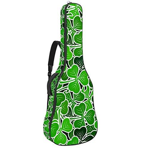 Gitarren-Gigbag, wasserdicht, Reißverschluss, weicher Gitarren-Rucksack, Bass, Akustik- und klassische Folk-E-Gitarrentasche, grünes Piktogramm Pflanzen