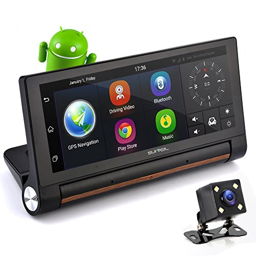 "GPS Touchscreen Android DVR Dashcam - 7"" Display, Navigation Dual Built-in Adjustable Front and..."