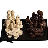 GrowUpSmart Schach- und Schachfiguren im Staunton Style aus Holz im Samtbeutel - als Ersatz...