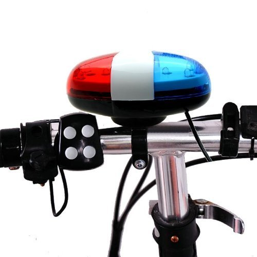 Optimal Shop 6 Bike Bicycle Police LED Light + 4 Loud Siren Sound Trumpet Cycling Horn Bell