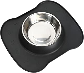 SAFETY PET DOG FEEDING BOWLS-pampering(2017 hot selling)silicone pet single bowls for dog cat pet,including 1 set stainless steel bowl,1 No Spill Silicone Mat and Non-Skid Silicone Bowls . (black)